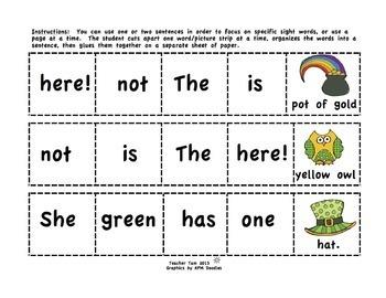 St. Patrick's Day Activities | Kindergarten & 1st Grade Sight Words Sentences