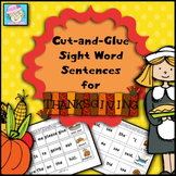 Thanksgiving Worksheets Kindergarten First Grade Sight Words Cut and Paste