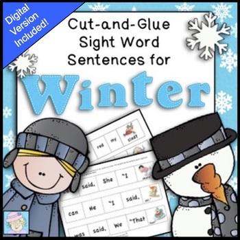 Sight Words Worksheets Kindergarten 1st Grade for Winter BOOM CARDS