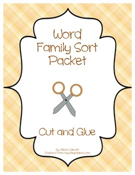 Cut and Glue Word Family Work