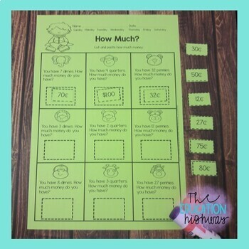 Math Cut and Glue Interactive Workbook: September