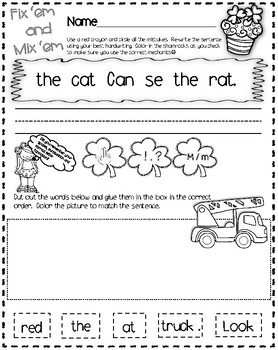 Scrambled Sentences ~ Including Capitalization, Spacing and Punctuation Practice