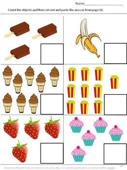 Kindergarten Morning Work Math & Literacy Centers Cut and Paste Worksheets