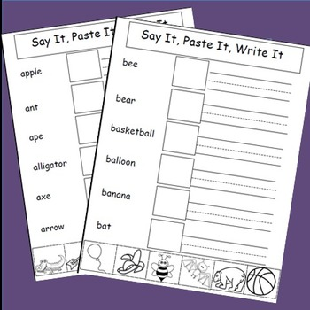 Alphabet Activities, Cut and Paste,Say It,Paste It,Write It, Writing Activities