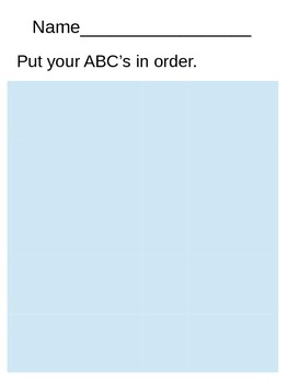 Cut and Paste ABC's in order