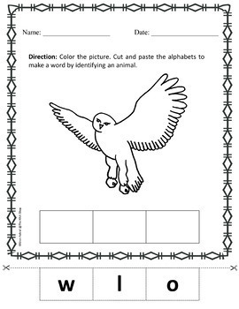 My Animal Book - Cut and Paste Activity: Color and Identify Animals