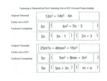 Cut and Paste Activity: Factoring Trinomials with GCF