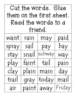 Cut and Paste Activity - Long a Words with ai and ay Spelling Pattern