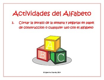 Cut and Paste Activity with Spanish Alphabet