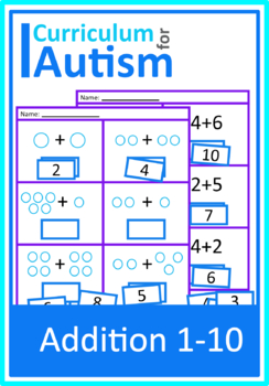 Autism Cut and Paste Addition 1-10 Math Worksheets, Special Education