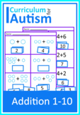 Addition 1-10 Math Worksheets Autism Special Education Cut and Paste