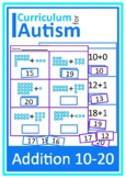Addition 10-20 Cut and Paste Autism Special Education