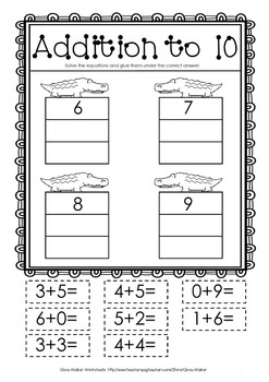 cut and paste addition to 10 worksheets printables math centers no prep. Black Bedroom Furniture Sets. Home Design Ideas