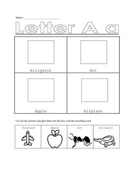 Cut and Paste Alphabet Worksheets