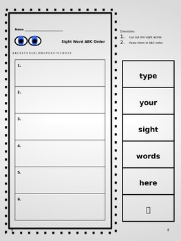 Cut and Paste Alphabetical Order Sight Word Sheet