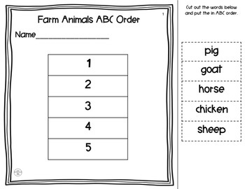 Cut and Paste Animal ABC Order