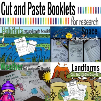 Cut and Paste Booklets Science Bundle (Landforms, Habitat, Space, and Weather)