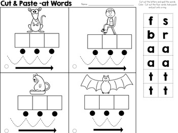 Cut and Paste CVC Phonics Cards (includes Blending Cues)