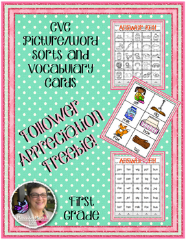 Cut and Paste CVC Picture, Word Sorts and Vocabulary Cards