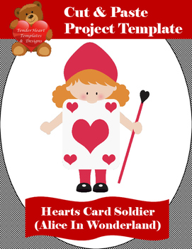 Cut and Paste Card Soldier (Hearts) - Alice In Wonderland