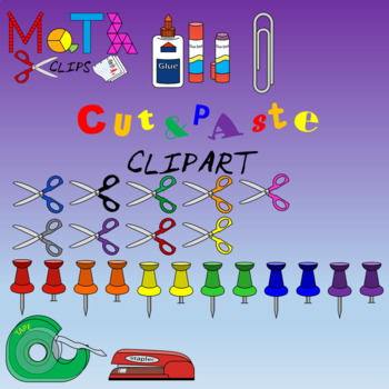 Cut and Paste Clipart - Scissors, Glue, Tape, Stapler Paperclip, Thumbtacks