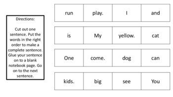 Cut and Paste Complete Sentences Pre-Primer Dolch Words