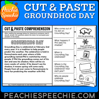 Cut and Paste Comprehension: Groundhog Day Story