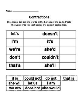 Cut and Paste Contraction Worksheet