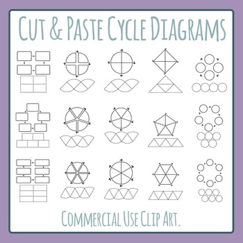 Cut and Paste Cycle Diagram Blank Templates Clip Art Set f