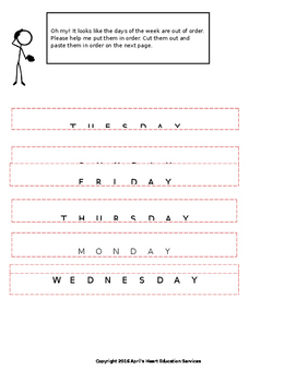 Cut and Paste Days of the Week