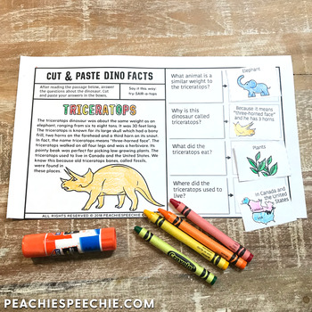 Cut and Paste Dino Facts Triceratops Story