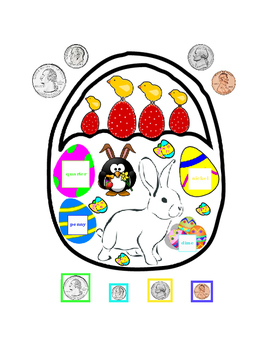 Cut and Paste Easter Money Quarter Dime Nickel Penny Math Center Printable 1p