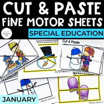 Cut and Paste Fine Motor Sheets: January