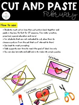Cut and Paste Fine Motor Sheets: February