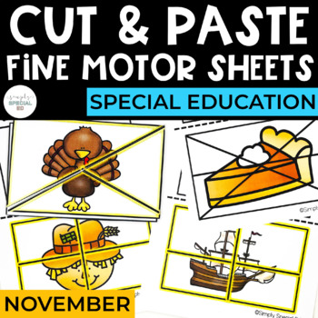 Cut and Paste Fine Motor Sheets: November