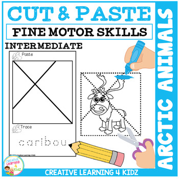 Cut and Paste Fine Motor Skills Puzzle Worksheets: Arctic Animals