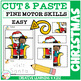 Cut and Paste Fine Motor Skills Puzzle Worksheets: Christmas