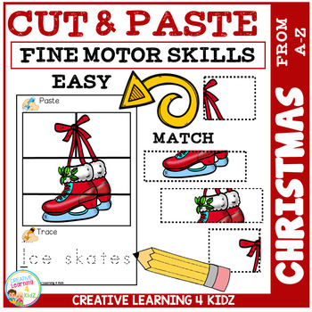 Cut and Paste Fine Motor Skills Puzzle Worksheets: Christmas Alphabet