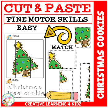 Cut and Paste Fine Motor Skills Puzzle Worksheets: Christmas Cookies