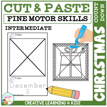Cut and Paste Fine Motor Skills Puzzle Worksheets: Christmas Count Down