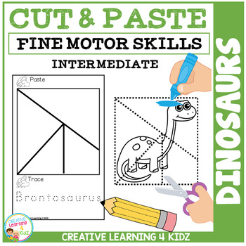Cut and Paste Fine Motor Skills Puzzle Worksheets: Dinosaurs