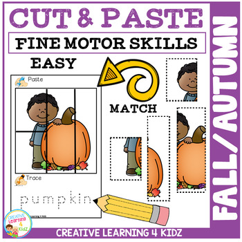 Cut and Paste Fine Motor Skills Puzzle Worksheets: Fall/Autumn