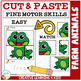 Cut and Paste Fine Motor Skills Puzzle Worksheets: Farm Animals