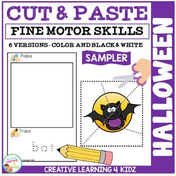 Cut and Paste Fine Motor Skills Puzzle Worksheets: Halloween Sampler