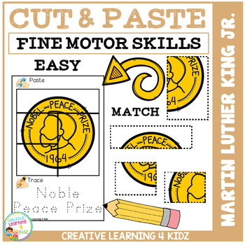 Cut and Paste Fine Motor Skills Puzzle Worksheets: Martin Luther King Day