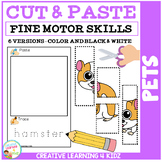 Cut and Paste Fine Motor Skills Puzzle Worksheets: Pets