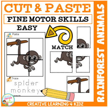 Cut and Paste Fine Motor Skills Puzzle Worksheets: Rainforest Animals