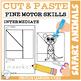Cut and Paste Fine Motor Skills Puzzle Worksheets: Safari Animals