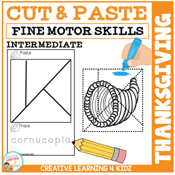 Cut and Paste Fine Motor Skills Puzzle Worksheets: Thanksgiving