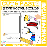 Cut and Paste Fine Motor Skills Puzzle Worksheets: Transportation